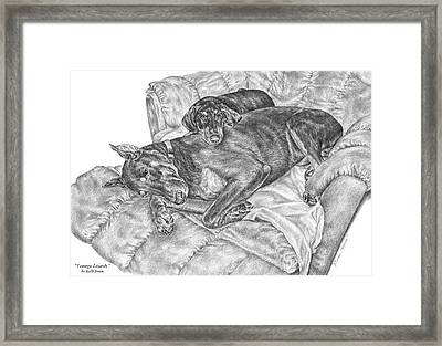 Lounge Lizards - Doberman Pinscher Dog Art Print Framed Print by Kelli Swan
