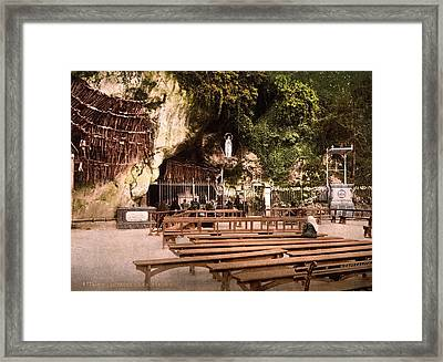 Lourdes, France, The Grotto Of Notre Framed Print by Everett