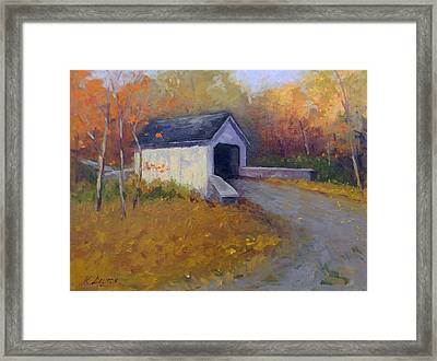 Loux Covered Bridge In Bucks County Framed Print by Kit Dalton