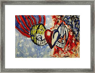Love And Hate Angel And Devil American Hearts And Flags With Wings And Stars Framed Print by MendyZ M Zimmerman
