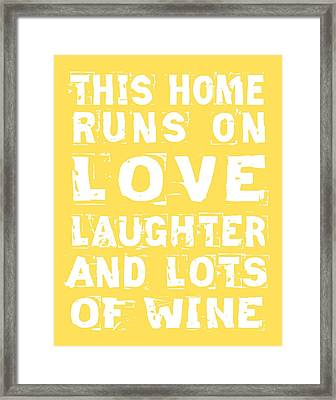 Love And Lots Of Wine Poster Framed Print
