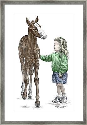Love At First Sight - Girl And Horse Print Color Tinted Framed Print by Kelli Swan