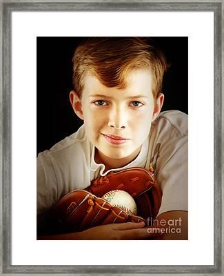 Love Baseball Framed Print by Lj Lambert