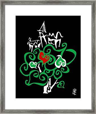 Love Bio City Cloud Ecologic World - Green Peace Art Design By Nacasona Framed Print
