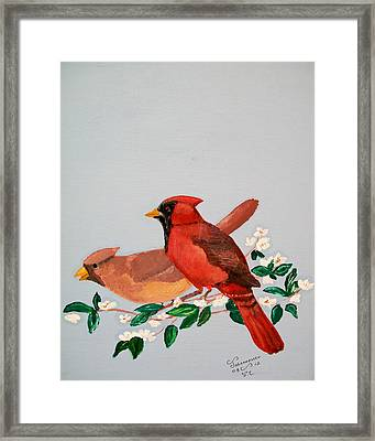 Framed Print featuring the painting Love Blossems   Unframed by Al  Johannessen
