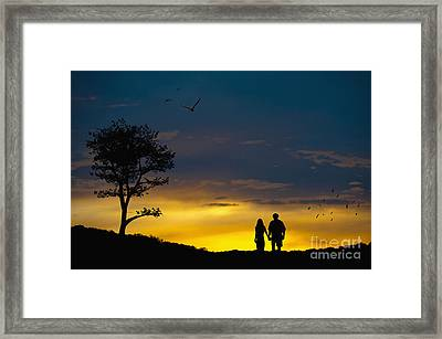 Love Couple Silhouette At Sunset Framed Print by Andre Babiak