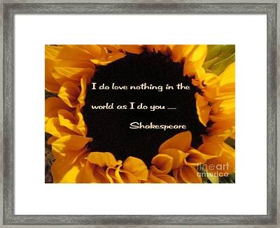 Love Nothing As I Do You  Framed Print by Patricia Januszkiewicz