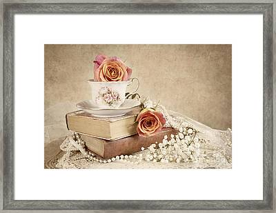 Framed Print featuring the photograph Love Of Vintage Books by Cheryl Davis