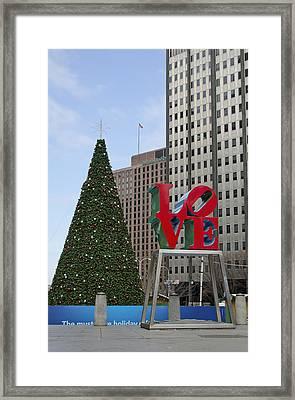 Love Park Philadelphia - Winter Framed Print by Brendan Reals