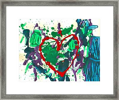 Framed Print featuring the painting Love Survives A Trashy Time by Sharon Mick