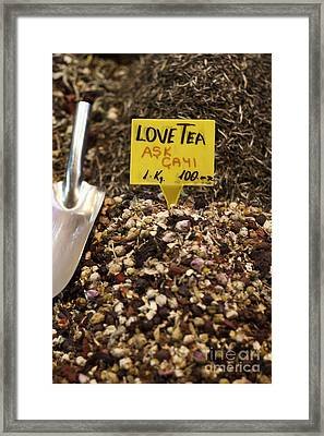 Love Tea Framed Print by Leslie Leda
