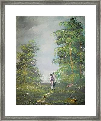 Love Walk In The Woods Framed Print by Raymond Doward