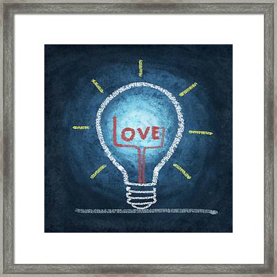 Love Word In Light Bulb Framed Print by Setsiri Silapasuwanchai