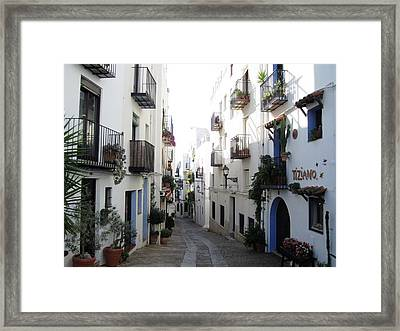 Lovely Narrow Street And Balconies Decorated With Plants In Peniscola Spain Framed Print