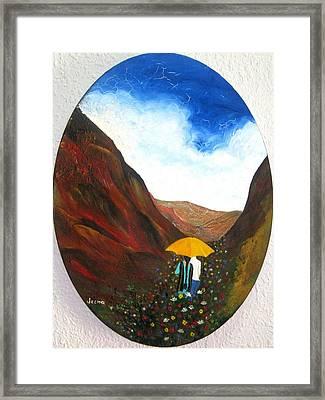 Lovers In A Valley Framed Print by Rejeena Niaz