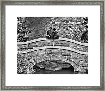 Lovers On A Bridge  Framed Print