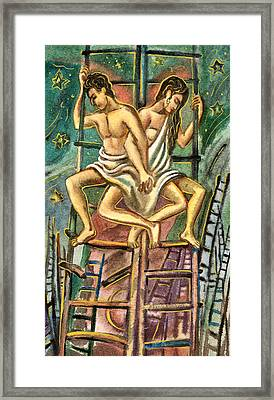 Lovers On Stairs Framed Print by Vasile Movileanu