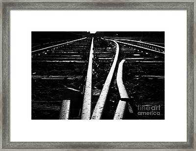 low angle on old junction railway line at Charlestown county mayo republic of ireland Framed Print