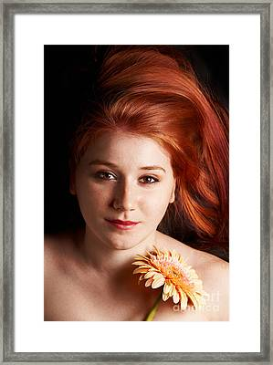 Low Key Portrait Of A Young Woman Framed Print by Gabriela Insuratelu