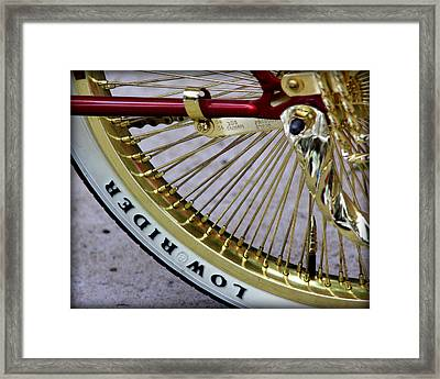 Low Rider In Maroon And Gold Framed Print by Tam Graff