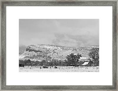 Low Winter Storm Clouds Colorado Rocky Mountain Foothills 7 Bw Framed Print