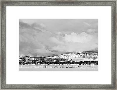 Low Winter Storm Clouds Colorado Rocky Mountain Foothills Bw Framed Print