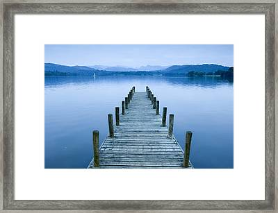 Low Wood Hotel Jetty On Lake Windermere In The Lake District, Lake Windermere, Cumbria, England Framed Print by VisitBritain/Rod Edwards