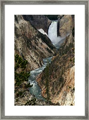 Framed Print featuring the photograph Lower Falls And Yellowstone River by Living Color Photography Lorraine Lynch