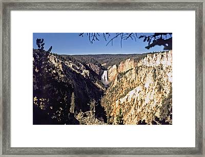 Lower Falls On The Yellowstone River Framed Print by Rod Jones
