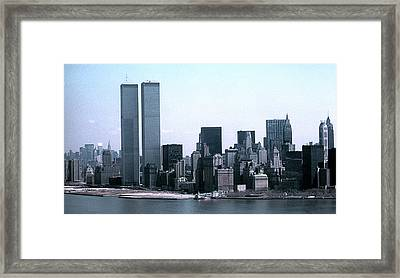 Lower Manhattan Island With Twin Towers Framed Print