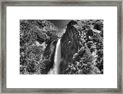 Lower Yosemite Falls Bw Framed Print by Bruce Friedman