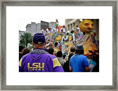 Framed Print featuring the photograph Lsu Mardi Gras  by Jim Albritton