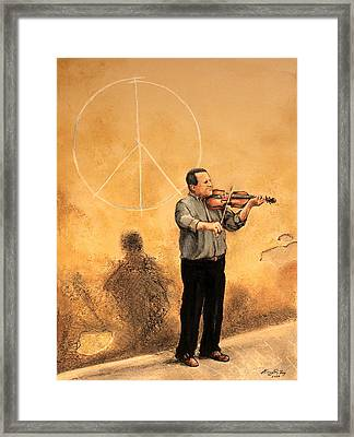 Luchese Street Musician Framed Print by Greg Riley