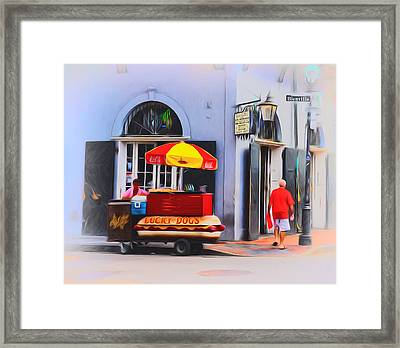 Lucky Dogs - Bourbon Street Framed Print by Bill Cannon