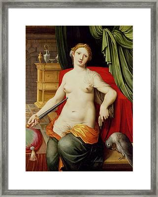 Lucretia Framed Print by Vincent Sellaer
