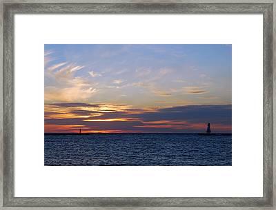 Ludington Sunset Framed Print by Twenty Two North Photography