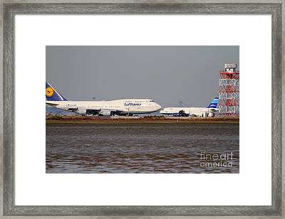 Lufthansa Airlines And Jetblue Airlines Jet Airplane At San Francisco International Airport Sfo Framed Print by Wingsdomain Art and Photography