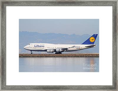 Lufthansa Jet Airplane At San Francisco International Airport Sfo . 7d12115 Framed Print