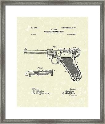 Luger Handgun 1904 Patent Art Framed Print by Prior Art Design