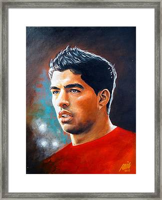 Luis Suarez Painting Framed Print by Ramil Roscom Guerra
