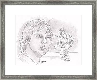 Framed Print featuring the drawing Luke Skywalker - Farmboy by Chris  DelVecchio