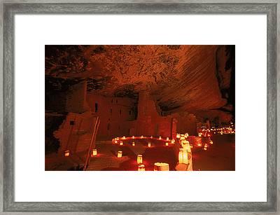 Luminarias Light Up The Anasazi Spruce Framed Print by Ira Block