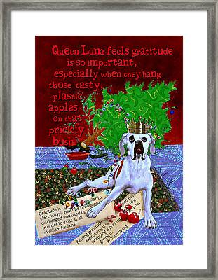 Luna On Gratitude Framed Print by Johanna Uribes
