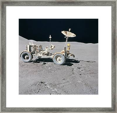 Lunar Vehicle On The Surface Of The Moon Framed Print by Stockbyte