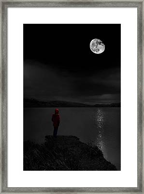 Lunatic In Red Framed Print by Meirion Matthias