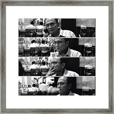 Lunch #blackandwhite #bw #people Framed Print