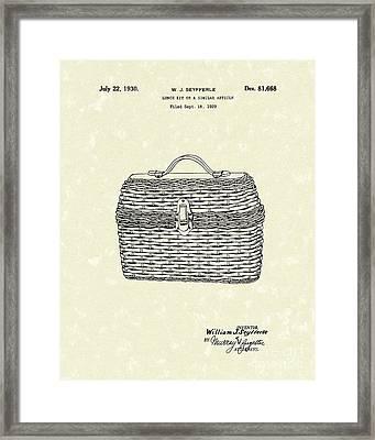 Lunch Box 1930 Patent Art Framed Print