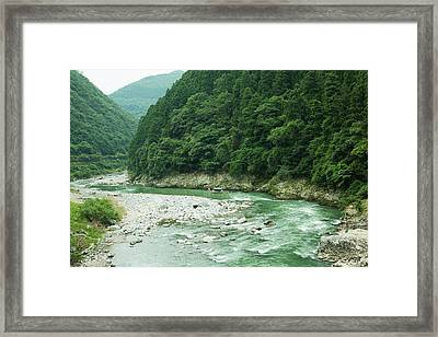Lush Green Volcanic River Gorge, Kyoto, Japan Framed Print by Ippei Naoi