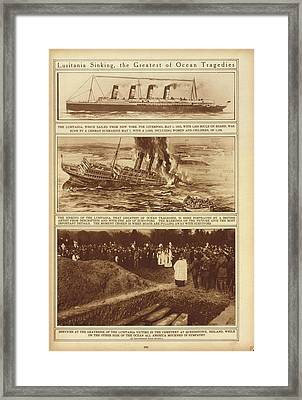 Lusitania Sinking The Greatest Of Ocean Framed Print