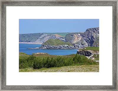 Lusty Glaze And Watergate Bay Framed Print by Allan Baxter